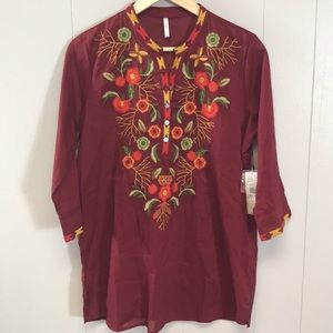 Passports Red Floral Embroidered Tunic Top Medium